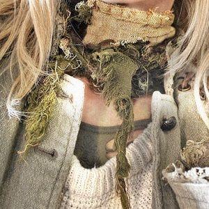upcycled ragged bandana, fall colors